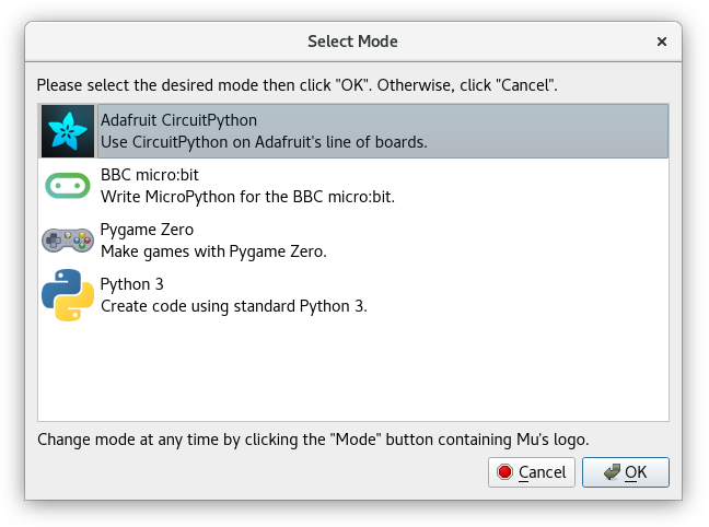 The Mode selector
